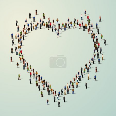 Large group of people in heart.