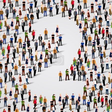 Illustration pour Un grand groupe de personnes sous la forme 2 deux. Fond sans couture vectoriel - image libre de droit