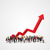 Growth chart and progress in people crowd