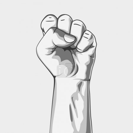 Illustration for Black and white clenched fist. Vector illustration. Hand collection. - Royalty Free Image