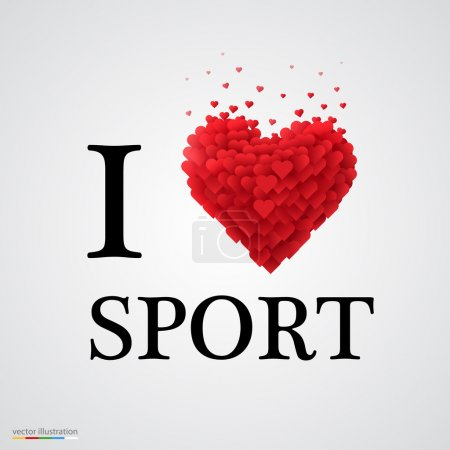 i love sport heart sign.