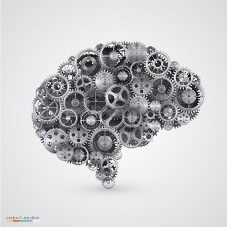 Cogs in the shape of a human brain