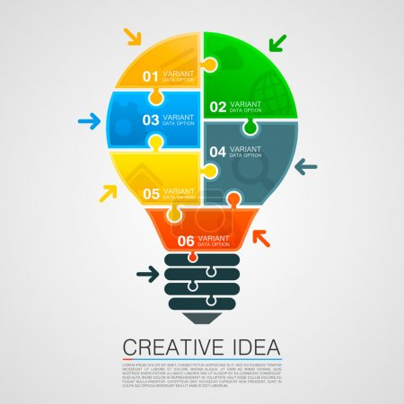 Illustration for Bulb idea of working with puzzles. Vector illustration - Royalty Free Image