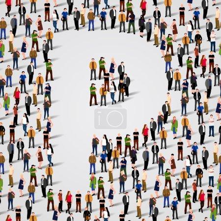 Illustration pour Grand groupe de personnes sous forme de lettre P. Fond sans couture vectoriel - image libre de droit