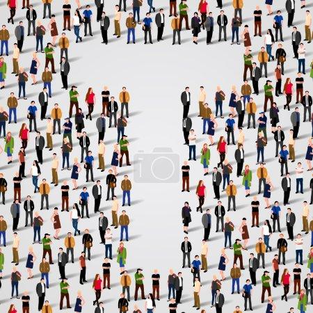 Illustration pour Grand groupe de personnes sous forme de lettre T. Fond sans couture vectoriel - image libre de droit