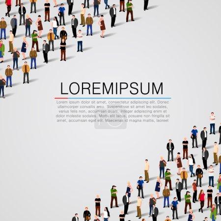 Illustration pour Grand groupe de personnes sur fond blanc. Fond vectoriel - image libre de droit