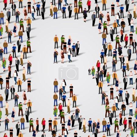 Illustration pour Grand groupe de personnes sous forme de lettre R. Fond sans couture vectoriel - image libre de droit
