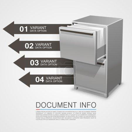 Illustration pour Coffre-fort avec des informations sur les documents. Illustration vectorielle - image libre de droit
