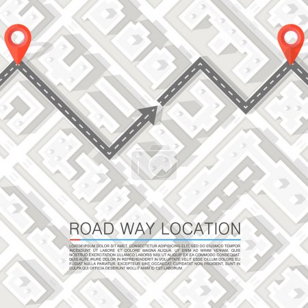 Illustration for Paved path on the road. Vector background - Royalty Free Image