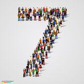 Large group of people in number 7 seven form