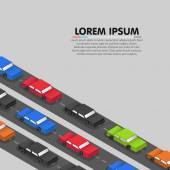 Cars standing in a traffic jam Vector