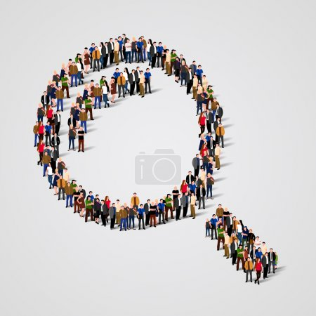 Illustration for Large group of people in the shape of a magnifying glass. Vector illustration - Royalty Free Image