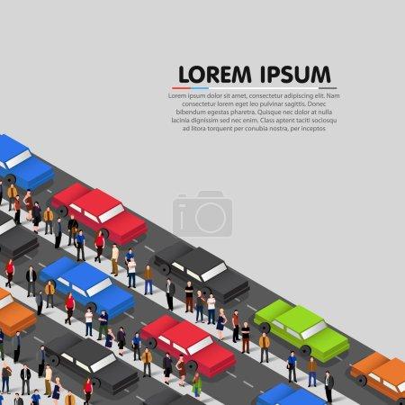 Illustration pour Voitures debout dans un embouteillage. Illustration vectorielle - image libre de droit