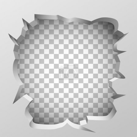 White broken wall concept. Clean vector illustrati...