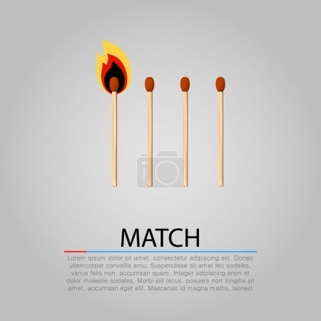 Burning matches on gray background. Vector