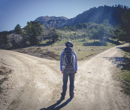 Photo for Hiker man choose between to directions at the mountain - Royalty Free Image