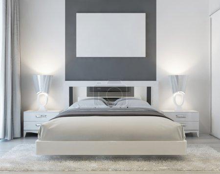 Front view of art deco bedroom.