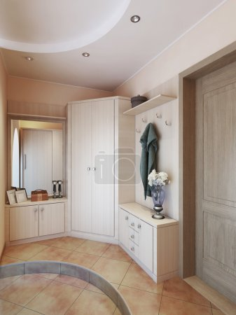 Photo for Hallway in modern style with hangers, a mirror dressing table and a large sliding closet. 3D render. - Royalty Free Image