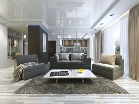 Photo for Luxury living room studio in a modern style with comfortable armchairs and a sofa in olive green. Studio apartment with kitchen and living room and a hallway with cloakroom. 3D render. - Royalty Free Image
