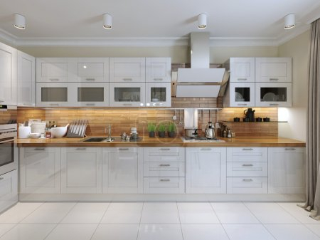Kitchen contemporary style. 3d visualization...