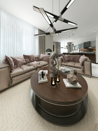 Photo pour Salon dans un style contemporain. Visualisation 3D - image libre de droit