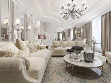 Photo for Living room classic style. 3d render - Royalty Free Image