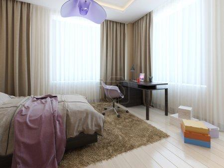 Work area in a modern bedroom