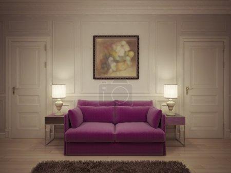 Photo pour Hall dans un style classique. rendu 3D - image libre de droit