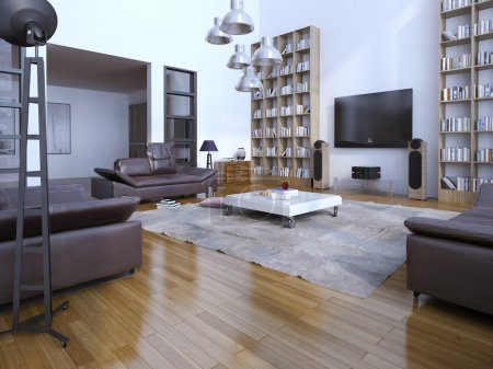 Photo for Spacious contemporary livin room with bookshelves. 3D render - Royalty Free Image