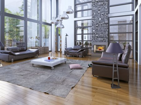 High ceilings living room with fireplace.