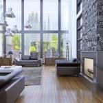 Loft apartment interior design with panoramic wind...