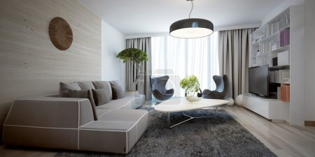 Bright sitting room contemporary trend. 3D render...