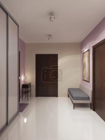 Photo pour Conception de spacieux couloir minimaliste. Crème et lumière rose plafond murs, blanc et brillant un sol en béton. rendu 3D - image libre de droit