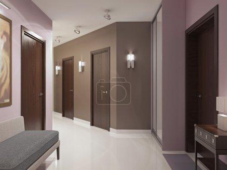 Photo pour Tendance de couloir moderne élégante. Hall d'entrée spacieux avec portes bruns, murs roses et bruns, armoire avec portes coulissantes et plancher poli blanc élégant. rendu 3D - image libre de droit