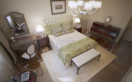 Panoramic view of english bedroom