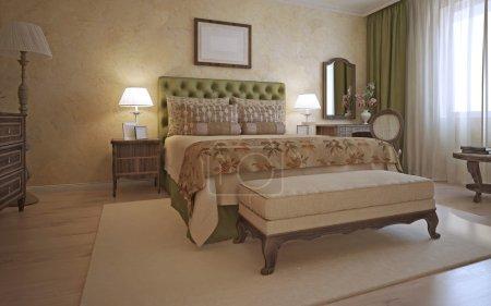 Idea of hotel bedroom in mediterranean style