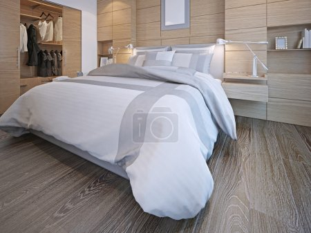 Photo for Idea of contemporary bedroom. Master bedroom with walk-in closet. White walls with decorative wood panels, hardwood flooring. 3D render - Royalty Free Image