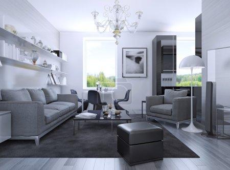 Apartment studio in art deco style