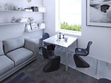 Table à manger gothique avec chaises bleu foncé