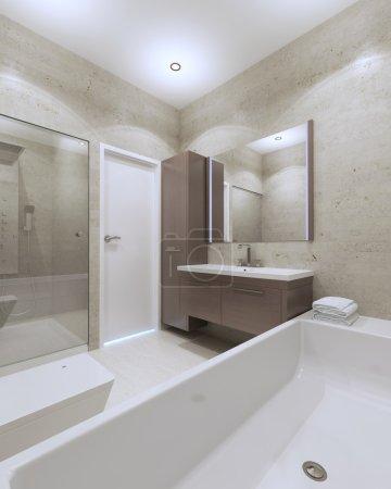 Idea of minimalist bathroom in private house