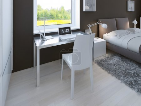 Working area in minimalist bedroom
