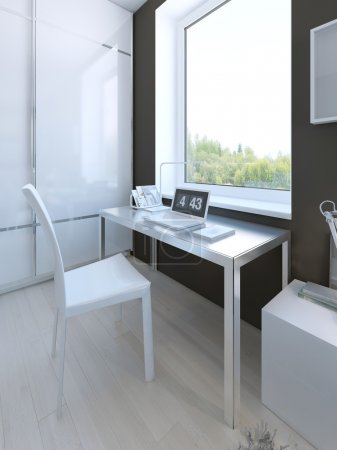 White colored furniture in hgh-tech bedroom