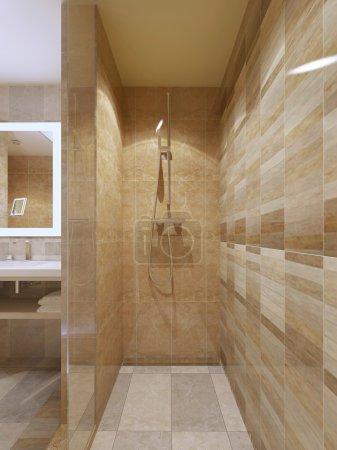 High-tech shower in bathroom