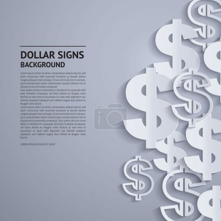 Vector dollar signs on grey background.