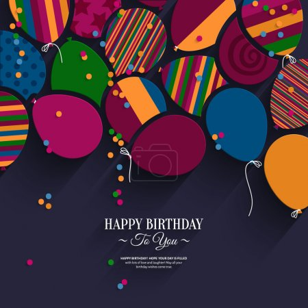 Vector colorful birthday card with paper balloons and wishes.