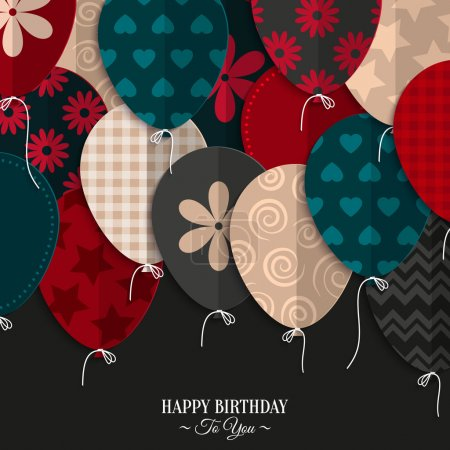 Illustration for Vector birthday card with paper balloons and birthday text. - Royalty Free Image