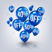 Flying balloons with text SALE and discount