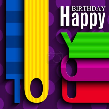 Illustration for Vector abstract birthday card with wishes text in the style of flat folded paper - Royalty Free Image