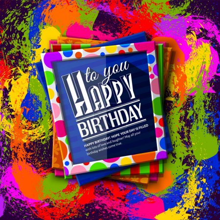 Birthday card. Frames with colorful textures and wishing text. Vector.