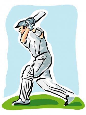 Cricket batsmen playing shot.